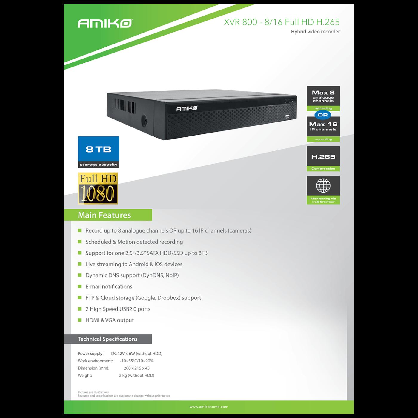 XVR 800 8/16 FULLHD H.265+